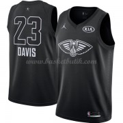 New Orleans Pelicans Anthony Davis 23# Svart 2018 All Star Game NBA Basketlinne..